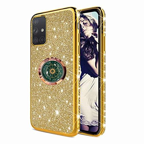 TYWZ Astrolabio Cover per Samsung Galaxy A71,Glitter Diamante Placcatura Telaio Brillante Silicone Custodia con 360 Grado Rotazione Verde Bussola Anello Cavalletto