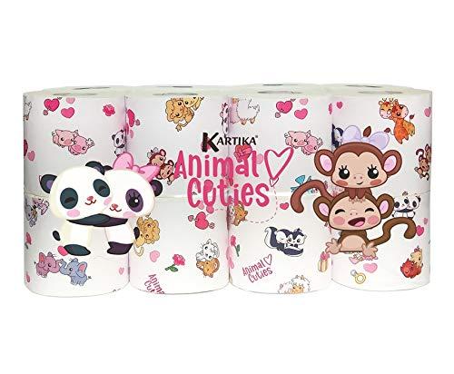 16 Rollen Toilettenpapier 3-lagig 140 Blatt Zellstoff Kinder Klopapier WC Kartika Animals