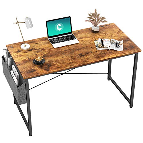 Cubiker Writing Computer Desk 39' Home Office Study Desk, Modern Simple Style Laptop Table with Storage Bag, Rustic