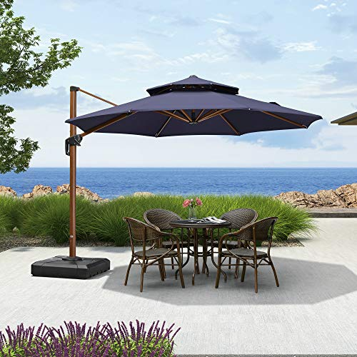 PURPLE LEAF 11ft Patio Umbrella Outdoor Round Umbrella Large Cantilever Umbrella Windproof Offset Umbrella Heavy Duty Sun Umbrella for Garden Deck Pool Patio, Navy Blue