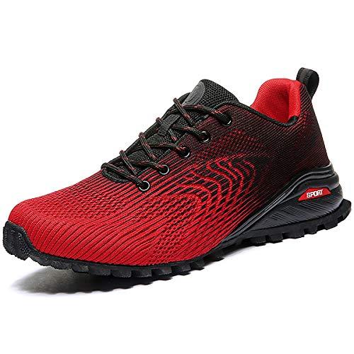 Eisrumu Laufschuhe Herren Damen Sportschuhe Straßenlaufschuhe Sneaker Joggingschuhe Turnschuhe Walkingschuhe Traillauf Fitnesschuhe Schwarz rot EU50