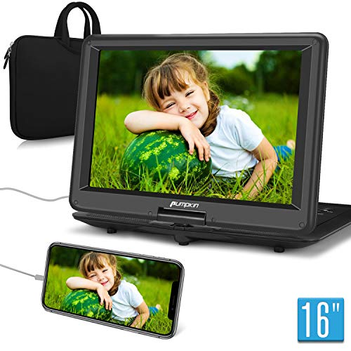 Pumpkin lettore dvd portatile per bambini 16 pollici Grande HD Schermo,con borsa, 5 ore di durata, supporta HDMI/USB/TF/AV IN/OUT, region free