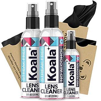 Koala Eyeglass Lens Cleaner Spray Kit | American Made | 18 Ounces + 3 Koala Cloths | Streak and Alcohol Free | Carefully Engineered Glasses Cleaner | Safe for All Lenses