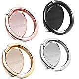 Rngeo Finger Ring Stands Set, Pack of 4 Universal Thin 360 Degree Rotation Phone Rings, Compatible with iPhone, Android & Other Smartphones (4 Packs of Rose Gold, Gold, Gray, Silver & Black)