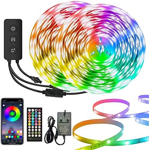 15m LED con lámpara Música Color de color síncongo Cambio de color RGB Lámpara de tira, luz LED Bluetooth con aplicación y 40 teclas Control remoto, Dormitorio de la lámpara de cinta SMD 5050, decorac