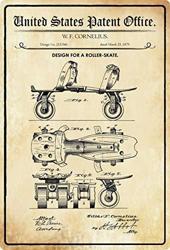 Metalen bord 20x30cm patent ontwerp voor een rolschaats 1879 bord Tin Sign
