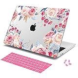 MacBook Pro 13 インチ Touch Bar ケース A1706/A1989/A2159 (2016 2017 2018 2019)かわいい花 ハードケース シェルカバー 日本語キーボードカバー ダストプラグ付き