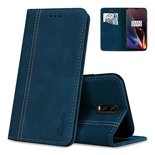 AKABEILA Oneplus 6T Hülle Leder, Oneplus 6T Handyhülle Silikon, Kompatibel für Oneplus 6T Schutzhülle Brieftasche Klapphülle PU Magnetverschluss Kartenfächer Hüllen, Blau