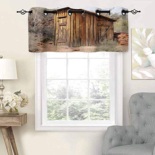 Hiiiman Grommet Top Blackout Curtain Valance Old Wooden Shed in The Outback Country Side with Olive Trees, Set of 2, 54'x36' Window Treatment for Living Room, Short Straight Drape Valance