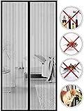 Mosquitera Magnética para Puertas,Puerta Mosquitera Enrollable Lateral,Cierre Magnético Automático Que Evita el Paso de Insectos-80x245cm(31x96inch)