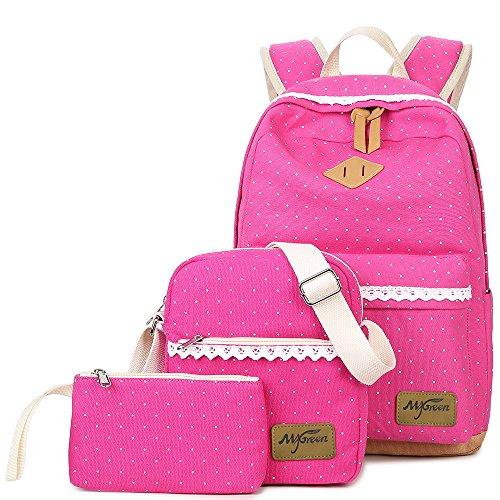 3 Teile Set Schulrucksack Canvas Rucksack Mädchen/Damen, Rucksack Schule/Schulranzen + Schultertasche/Messenger Bag + Mäppchen/Purse (Rosa)