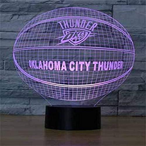 HLHHL-Lamp LumièRes DéCoratives pour L'éQuipe De Basket-Ball/LED De La SéRie Night Lights 3D, Panneau en Acrylique, Base en Abs, CâBle USB, Base Noire, éCran Tactile/à Distance, 7 Couleurs
