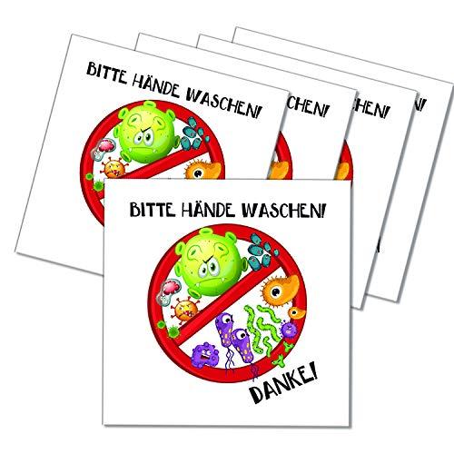 Logbuch-Verlag 5 Bitte HÄNDE WASCHEN Schilder Wandschild bunt 10 x 10 cm - Händewaschen Hinweisschild Warnschild Krankheitserreger für Kinder Schule Kindergarten