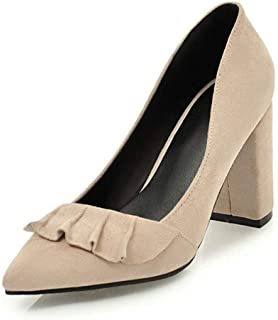 Women's Round Closed Toe Chunky Block Mid Heel Pump Office Slip-On Work Loafers Dress Shoes