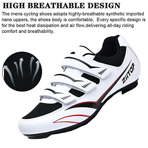Zapatilla de Ciclismo MTB Hombre para Carretera y Montaña Calzado de Ciclismo para Hombre Antideslizantes Ligera Triple Tira de Gancho y Bucle Blanco,44 EU