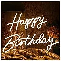 お誕生日おめでとうネオンサイン、再利用可能なアート装飾ネオンライト、友人、家族、子供のギフト、暖かい白のためのハンギングサインの壁の装飾
