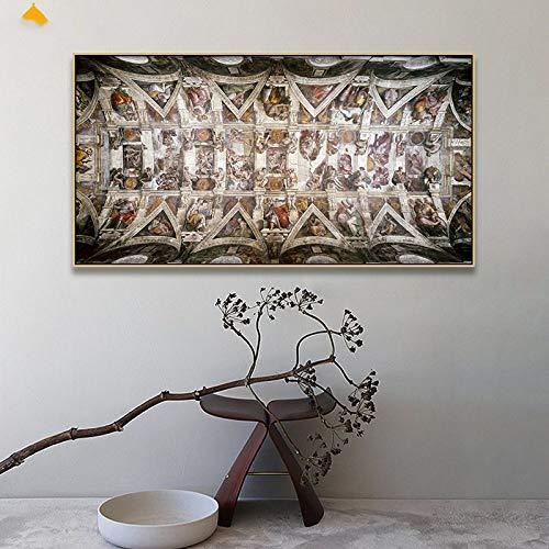 YUANOMWJ Malerei Auf Leinwand,Leinwanddruck Gemälde,Sixtinische Kapelle Deckenfresko Von Michelangelo,Poster Drucke Ohne Rahmen Bilder Wohnzimmer Home Decoration,20X40Cm(8X16Inch)