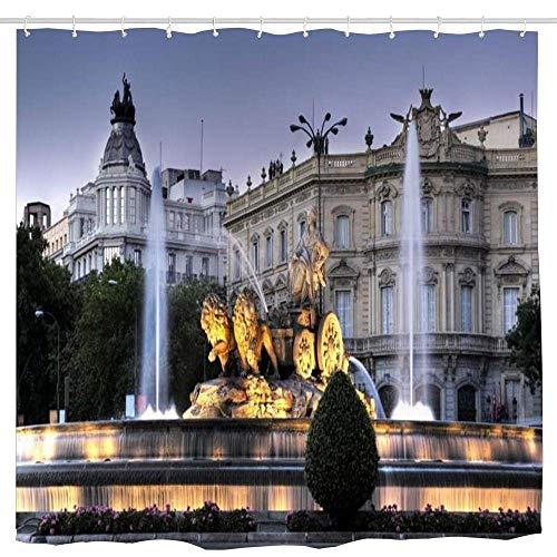 N\A Cibeles Brunnen in Madrid Spanien Badezimmer Duschvorhang Lustige Duschvorhänge Langlebiges Bad Wasserdichtes Badezimmer