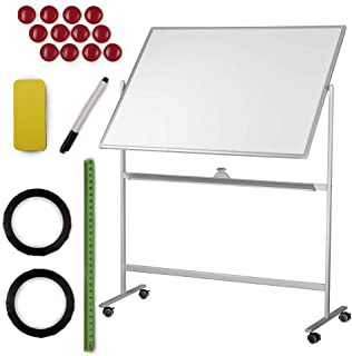 White Board | Dry Erase Magnetic Whiteboard Large Mobile Standing Double Sided Rolling White Boards W/ Wheels 48x36 | Portable Classroom & Office Space Reversible + Dry Erase Eraser, 6 Magnet + Tape