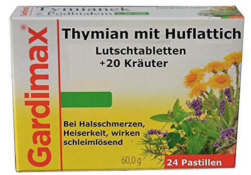 Lutschtabletten 24 St. Thymian, Huflattich plus 20 Kräuter Extrakte, schleimlöser, bronchien entkrampfend, antibakteriell, bei Erkältung mit Husten, hustensaft, hustenstiller, hustenlöser