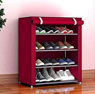 4 Layer Multipurpose Storage Cum Portable Folding Shoe Rack Shelf Cabinet Organiser with Wardrobe Cover for Home Office - ...