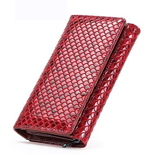 XMYL Damen Geldbörsen,Echtes Leder Portemonnaie Lang Scheckbuchhüllen mit Vielen Fächern 15 Kartenfächer,Rot,10 * 3.5 * 19cm