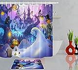 zhanghui2018 Halloween Hexenburg Kürbis Vogelscheuche Badezimmerset Duschvorhang, Größe: 180 x 180 cm, Badezimmermatte Größe: 60 x 40 cm