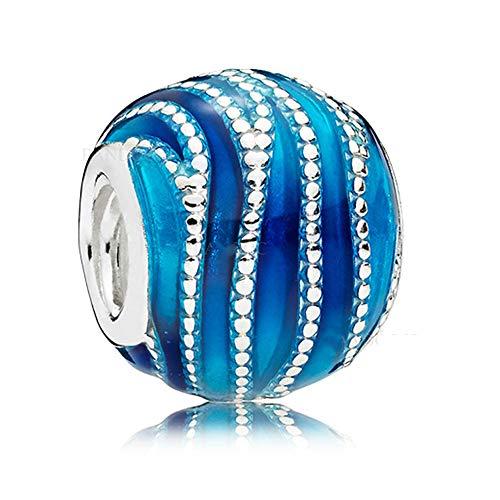 COOLTASTE Abalorio de plata 925 con diseño de remolinos azules de primavera...