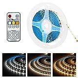 LED Strip 5m Streifen Licht 3000-6000K Dimmbar Band Lichterkette 12V Lichtband Warmweiß Weiß mit RF Fernbedienung Netzteil SMD 2835 3 Modi Farbwechsel, selbstklebend, Helligkeitseinstellung