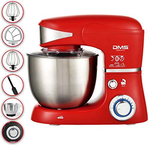 DMS Küchenmaschine Rührmaschine 5 Liter Knetmaschine Edelstahlschüssel Spritzschutz Teigkneter 6-stufige Geschwindigkeit 1500 Watt KM-1500 (Rot)