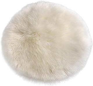 N / A Cojín redondo de piel de oveja sintética para asiento de coche, cojín para el suelo (40 cm), color blanco