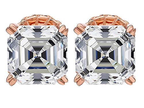 Sterling Silver Asscher Cut Swarovski Zirconia Stud Earrings 4.0cttw Hypoallergenic rose-gold-flashed-silver
