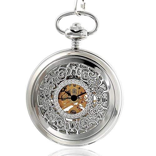 SGSG Reloj de Bolsillo, Flor Tallada Reloj de Bolsillo mecánico Doble Antiguo Palacio Imperial Romano Flip Taobao Mesa de Regalo fotográfica Parejas Mesa Estudiantes