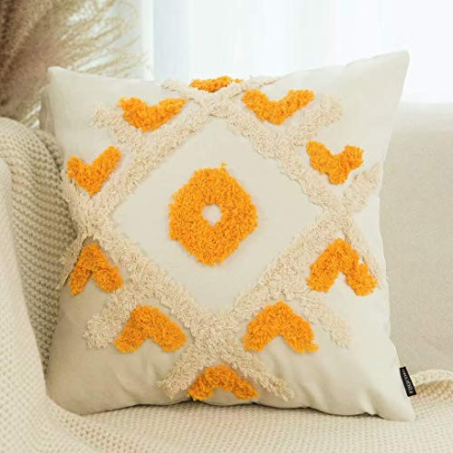 Faycole Moroccan Geometric Decorative Throw Pillow Covers Tufted Sofa Couch Pillow Cover for Living Room Bedroom 18x18 Inches Gold Cream White