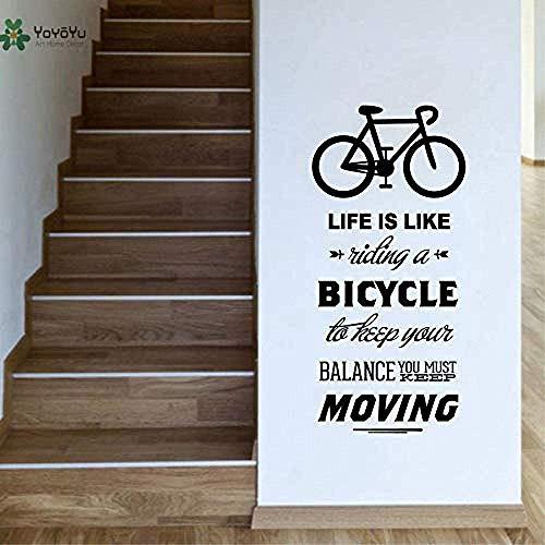 Etiqueta De La Pared Etiqueta De La Pared Del Vinilo La Vida Es Como Ciclismo Bicicleta Etiqueta De La Pared Arte Decorativo Diy Bicicleta 42X90Cm