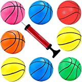 Hercugifts 6.3 Inches Toy Basketballs 8 Balls Assortment with Pump Coloful Kids Mini Toy Rubber Basketball for Kids, Teenager Basketballs Indoor and Ourdoor