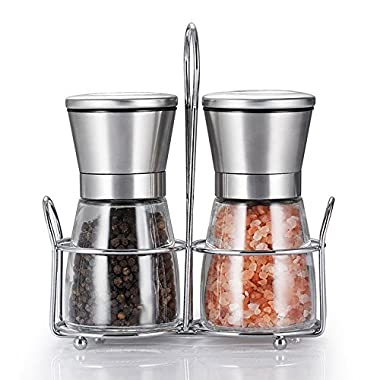 RT Grinder Set with Stand Adjustable Coarseness Salt & Pepper Shakers Glass Mill Brushed