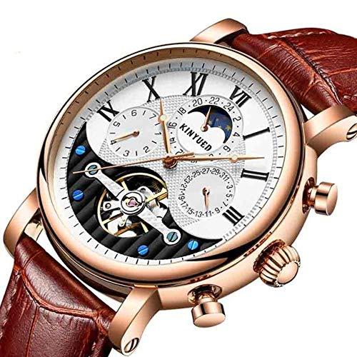 FRGTHYJ Automat Heren Horloges Rose Goud Leer Waterdichte Maan Horloges Tourbillon Automatische Mechanische Horloge Nieuwjaar Cadeau, Goud Wit Bruin
