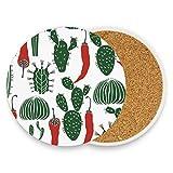 MALPLENA Cactus con posavasos de chile para bebidas, mejor regalo para el registro de bebidas de inauguración de la casa, madera, 1, 2 pieces set