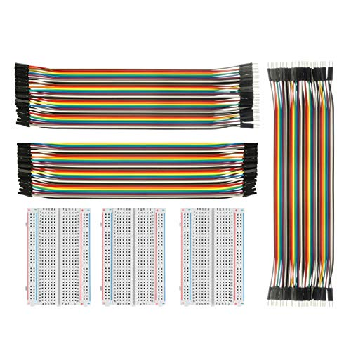 ALLDREI Jumper Wire Mit Breadboard BJ-018 3pcs 400 Pin Breadboard UND 40x20 Female-Female, Male-Male, Female-Male Kabel Steckbrücken für Arduino Raspberry Pi