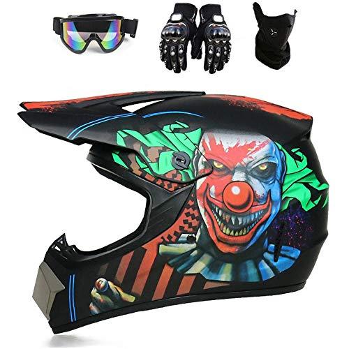 YXCXY-Motocross Helm, Erwachsene Und Kinder, ATV Helm, MTB Helm, Fahrradhelm, Full Face Off-Road Motorrad Cross Helme, Urban Highway Helm, DH Helm, Unisex (Clown,S)
