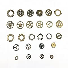 BeToper Assorted Antique Steampunk Gears Charms Pendant Clock Watch Wheel Gear for Crafting, Jewelry Making Accessory 100 Gram (Approx 70pcs) (Bronze) #2