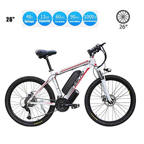 YMhome Bicicleta eléctrica, 26' Electric City E-Bici Bicicleta con 350W sin escobillas del Motor Trasero para Adultos, 36V / 13Ah batería extraíble de Litio,White Red