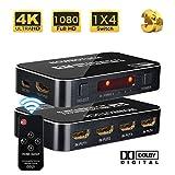 NOWBOTUCH 4x1 HDMI-Schalter Splitter 4 Anschlüsse 4Kx2K 60Hz 1080P, 3D HDMI 2.0 Switcher 4-in-1-out-HDMI-Wahlschalter mit drahtloser IR-Fernbedienung für PS3/PS4, Xbox 360/One, HDTV, Blu-Ray-Player