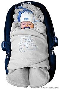 ByBoom® - Manta arrullo de invierno para bebé, es ideal para sillas de coche (p.ej. de las marcas Maxi-Cosi y Römer), para cochecitos de bebé, sillas de paseo o cunas; LA MANTA ARRULLO ORIGINAL CON EL OSO, Color:Gris/Azul