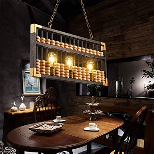E27 Industrielle Retro Rechteckige Abakus Kreatives Design Holz Eisen Nostalgisch Elegante Kronleuchter Höhenverstellbar Hängende Beleuchtung