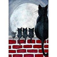 家の壁の装飾の猫とマウスのための5dダイヤモンド絵画キットフルドリルラインストーンの写真-60x70cm