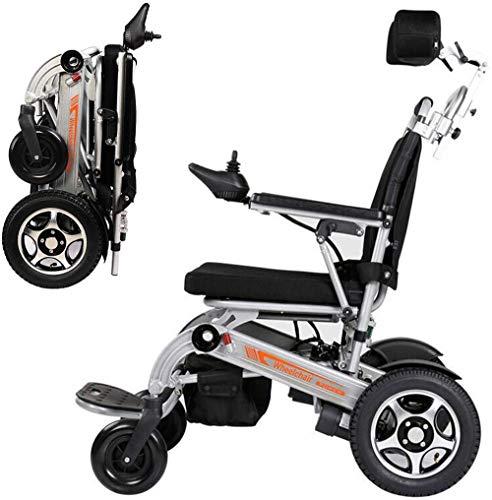 Silla de ruedas eléctrica plegable ultraligera, silla de ruedas eléctrica plegable lista para avión de doble motor, capacidad de peso 120 kg con reposacabezas y batería de iones de litio 20 Ah