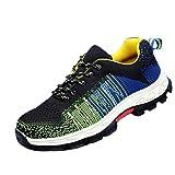 WODEQ Unisex Zapatillas de Seguridad Deportivos Zapatos de Trabajo con Puntera de Acero,Verde,38EU