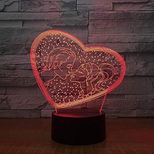 TE AMO Sweet Lover Heart 3D LED USB Lámpara Romántica Decorativa Colorida Luz Nocturna Novia Día de la Madre Regalo Envío de la gota